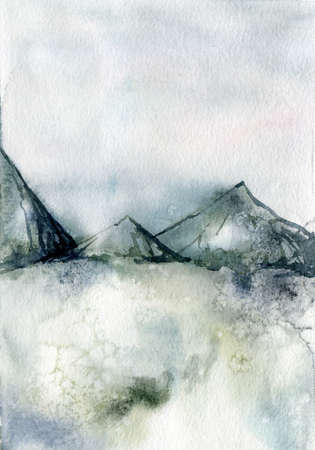 Watercolor winter minimalistic card of mountain and snow. Hand painted abstract outdoor backdrop. Nature illustration for design, print, fabric or background. 免版税图像