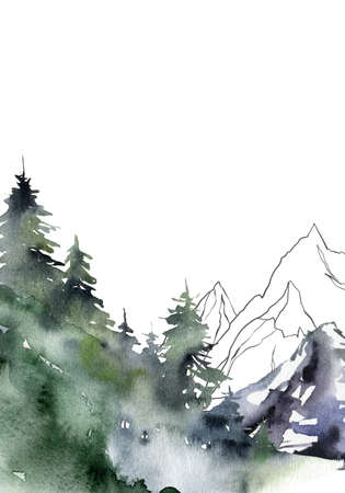 Watercolor minimalistic landscape of snow, forest and mountains. Hand painted abstract winter fir and pine trees. Illustrations isolated on white background. For design, print, fabric or background. 免版税图像