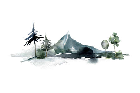 Watercolor minimalistic landscape of forest and mountains. Hand painted abstract winter fir and pine trees. Illustrations isolated on white background. For design, print, fabric or background. 免版税图像