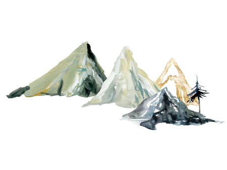Watercolor and gouache minimalistic landscape of tree and mountains. Hand painted abstract and gold mountains. Illustrations isolated on white background. For design, print, fabric or background.