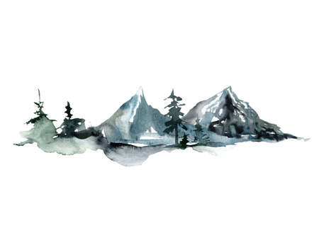 Watercolor landscape of forest and mountains. Hand painted abstract winter fir and pine trees. Minimalistic illustrations isolated on white background. For design, print, fabric or background.