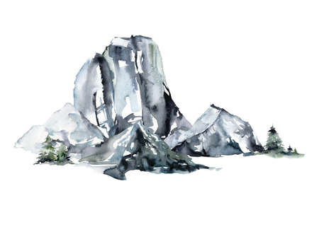 Watercolor landscape of mountains and forest. Hand painted abstract winter fir and pine trees. Minimalistic illustrations isolated on white background. For design, print, fabric or background.