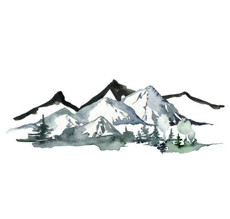 Watercolor and ink landscape of mountains and forest. Hand painted abstract winter fir and pine trees. Minimalistic illustrations isolated on white background. For design, print, fabric or background.