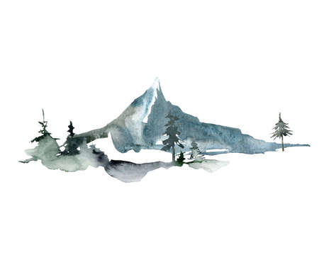 Watercolor landscape of forest and single mountain. Hand painted abstract winter fir and pine trees. Minimalistic illustrations isolated on white background. For design, print, fabric or background. 免版税图像