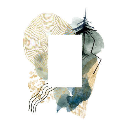 Watercolor abstract frame with landscape of mountains, moon and fir tree. Hand painted minimalistic illustrations isolated on white background. For design, print, fabric or background.
