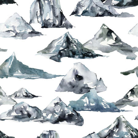 Watercolor winter seamless pattern of snow and mountains. Hand painted abstract illustrations isolated on white background. 免版税图像
