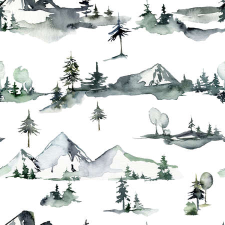 Watercolor winter seamless pattern of snow, trees and mountains. Hand painted abstract illustrations isolated on white background.