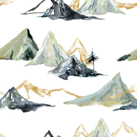 Watercolor and gouache winter seamless pattern of trees and mountains. Hand painted abstract and gold minimalistic illustrations isolated on white background. 免版税图像