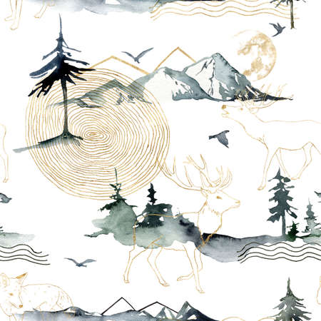 Watercolor seamless pattern of forest, mountains, deers and birds. Hand painted abstract and gold linear illustrations isolated on white background.