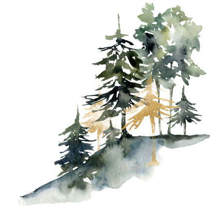 Watercolor nature card of abstract green and gold trees. Hand painted greenery illustration isolated on white background. 免版税图像