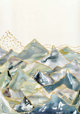 Watercolor and gouache minimalistic landscape of mountains. Hand painted abstract and gold mountains illustrations isolated on white background.
