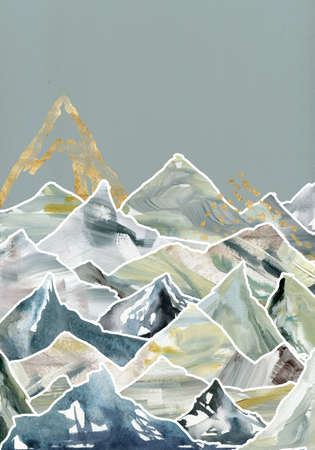 Watercolor and gouache minimalistic landscape of mountains and blue sky. Hand painted abstract and gold mountains illustrations isolated on white background. 免版税图像