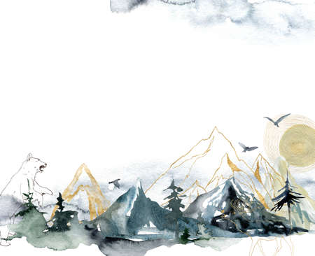 Watercolor seamless pattern of forest, mountains, bear and birds. Hand painted abstract and gold linear illustrations isolated on white background. 免版税图像