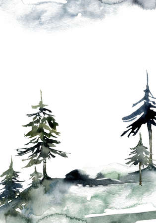 Watercolor landscape of forest, sky and mountains. Hand painted abstract winter fir and pine trees. Minimalistic illustrations isolated on white background. For design, print, fabric or background.