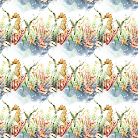 Watercolor underwater seamless pattern of seahorse, coral and starfish. Hand painted animals and plant isolated on white background. 免版税图像