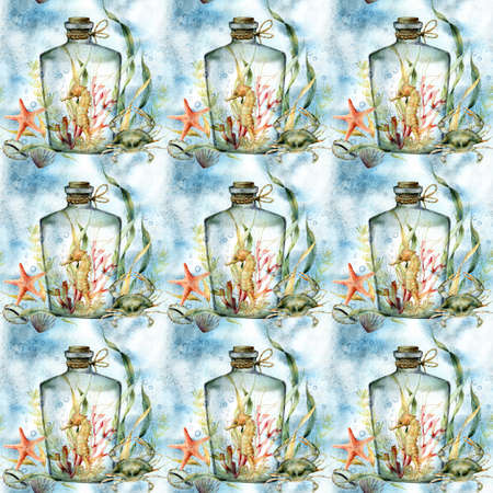 Watercolor underwater seamless pattern of seahorse, coral and crab in the bottle. Hand painted animals and plant isolated on white background.