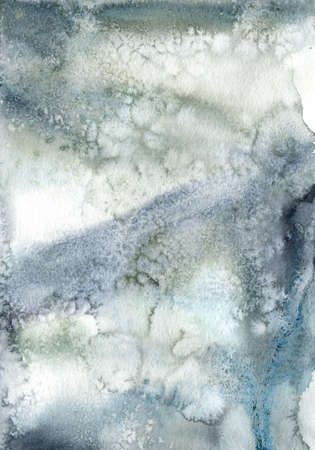 Watercolor abstract card of dark blue spots. Hand painted art in minimalistic style. Winter fantasy. Holiday background for design, print or fabric. 免版税图像