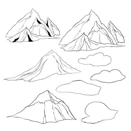 Vector linear set of mountains and clouds. Hand painted minimalistic illustrations isolated on white background. For design, print, fabric or background.