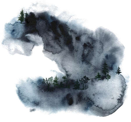 Watercolor minimalistic card of winter forest and mountains. Hand painted abstract fir trees illustrations isolated on white background. Wildlife composition for design, print, fabric or background.