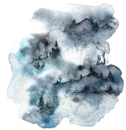 Watercolor minimalistic card of mountains and winter forest. Hand painted abstract fir trees illustrations isolated on white background. Wildlife composition for design, print, fabric or background.