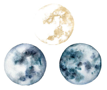 Watercolor set of gold and blue moon. Hand painted abstract illustrations isolated on white background. Minimalistic illustration for design, print, fabric or background.