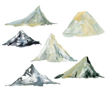 Watercolor and gouache mountains set. Hand painted abstract illustrations isolated on white background. Minimalistic illustration for design, print, fabric or background. 免版税图像