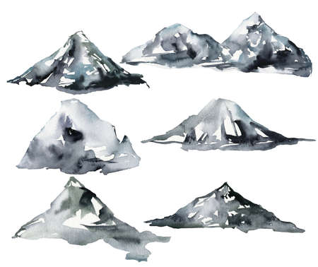 Watercolor set of winter mountains. Hand painted abstract illustrations isolated on white background. Minimalistic illustration for design, print, fabric or background.