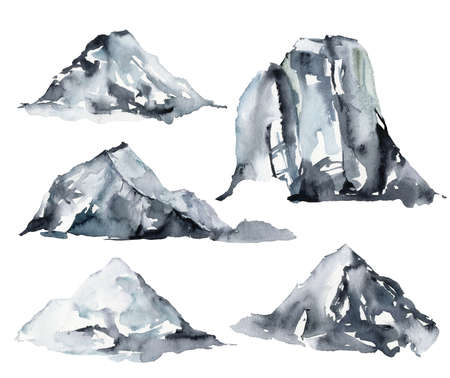 Watercolor winter set of snow and mountains. Hand painted abstract illustrations isolated on white background. Minimalistic illustration for design, print, fabric or background. 免版税图像