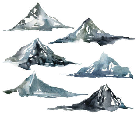 Watercolor winter set of mountains and snow. Hand painted abstract illustrations isolated on white background. Minimalistic illustration for design, print, fabric or background.