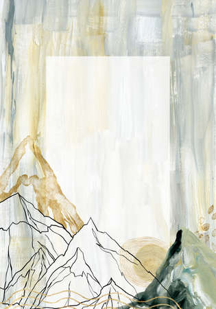 Watercolor and gouache abstract frame of landscape, mountains, sky and moon. Hand painted minimalistic illustrations isolated on white background. For design, print, fabric or background.