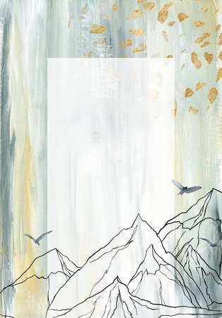 Watercolor and gouache abstract frame of landscape, mountains, sky and birds. Hand painted minimalistic illustrations isolated on white background. For design, print, fabric or background. 免版税图像