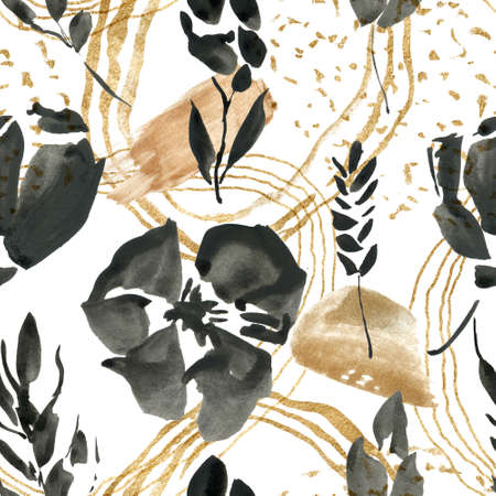 Watercolor floral seamless pattern of abstract black flowers and beige spots. Hand painted minimalistic illustration isolated on white background. For design, print, fabric or background.