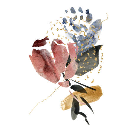 Watercolor floral card of abstract flowers and spots. Hand painted minimalistic illustration isolated on white background. For design, print, fabric or background.