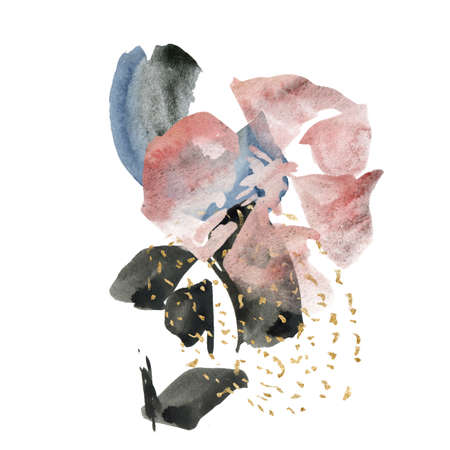 Watercolor floral card of abstract spots and vinous flowers. Hand painted minimalistic illustration isolated on white background. For design, print, fabric or background.