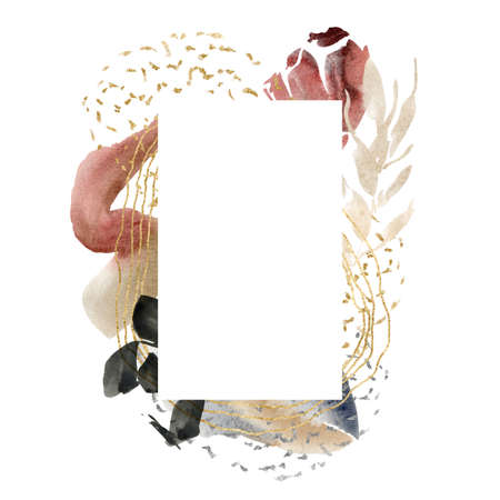 Watercolor floral vertical frame of abstract flowers and spots. Hand painted minimalistic illustration isolated on white background. For design, print, fabric or background. 免版税图像