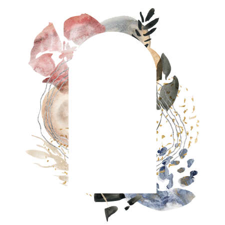 Watercolor floral frame of abstract flowers and spots. Hand painted minimalistic illustration isolated on white background. For design, print, fabric or background. 免版税图像