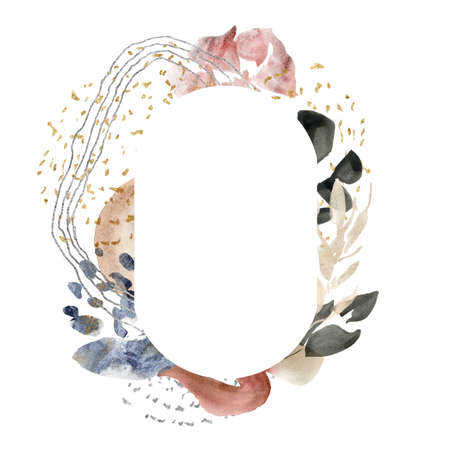 Watercolor floral oval frame of abstract flowers and spots. Hand painted minimalistic illustration isolated on white background. For design, print, fabric or background.