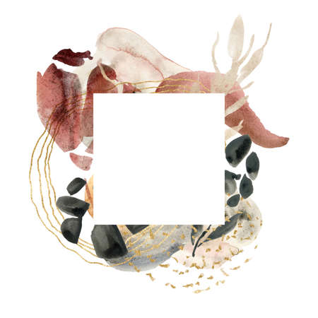 Watercolor floral square frame of abstract flowers and spots. Hand painted minimalistic illustration isolated on white background. For design, print, fabric or background.