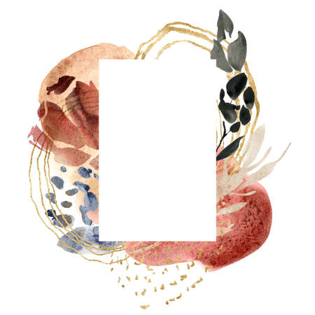 Watercolor floral frame of abstract flowers and gold spots. Hand painted minimalistic illustration isolated on white background. For design, print, fabric or background.