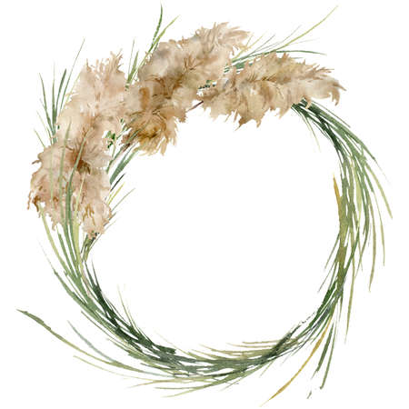Watercolor tropical wreath of dry and green pampas grass. Hand painted exotic bouquet of plant isolated on white background. Floral illustration for design, print, fabric or background.