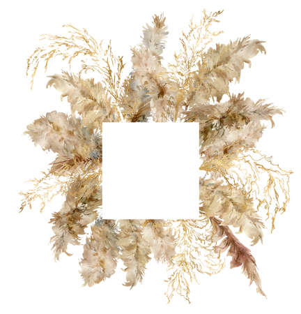Watercolor tropical frame of dry and gold pampas grass. Hand painted border of exotic plant isolated on white background. Floral illustration for design, print, fabric or background. 写真素材
