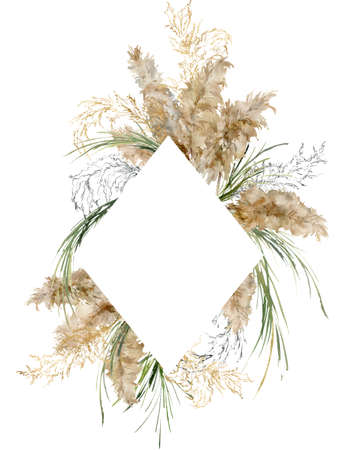 Watercolor tropical frame of gold, black and green pampas grass. Hand painted border of exotic dry plant isolated on white background. Floral illustration for design, print, fabric or background. 写真素材