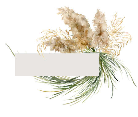 Watercolor tropical frame of gold and green pampas grass. Hand painted border of exotic dry plant isolated on white background. Floral illustration for design, print, fabric or background.