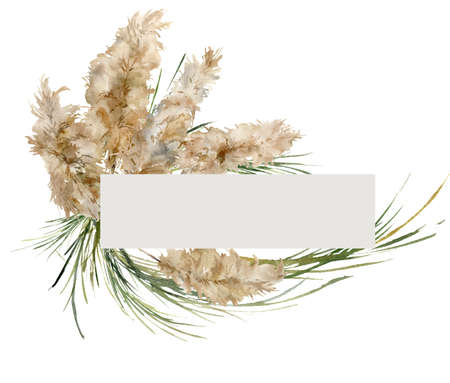 Watercolor tropical frame of green and gold pampas grass. Hand painted border of exotic dry plant isolated on white background. Floral illustration for design, print, fabric or background.
