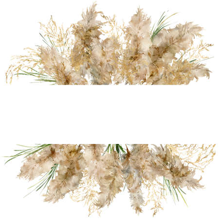 Watercolor tropical border of gold and green pampas grass. Hand painted frame of exotic dry plant isolated on white background. Floral illustration for design, print, fabric or background.
