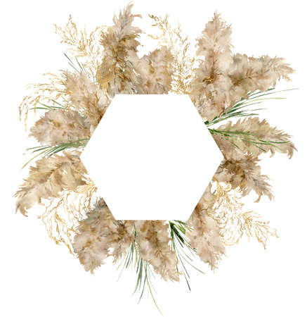 Watercolor hexagonal border of gold and green pampas grass. Hand painted tropical frame of exotic dry plant isolated on white background. Floral illustration for design, print, fabric or background.