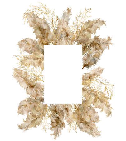 Watercolor vertical border of gold and dry pampas grass. Hand painted tropical frame of exotic dry plant isolated on white background. Floral illustration for design, print, fabric or background.