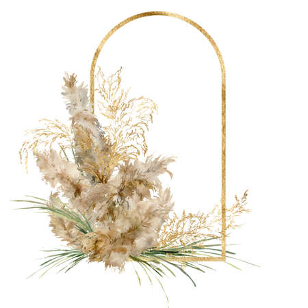 Watercolor tropical frame of gold linear pampas grass. Hand painted border of exotic dry plant isolated on white background. Floral illustration for design, print, fabric or background.