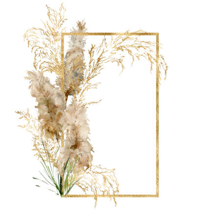 Watercolor gold frame of tropical pampas grass. Hand painted border of exotic dry plant isolated on white background. Floral illustration for design, print, fabric or background.