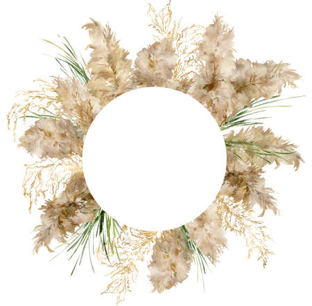 Watercolor round border of gold and green pampas grass. Hand painted tropical frame of exotic dry plant isolated on white background. Floral illustration for design, print, fabric or background.